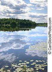 acqua, riflessione, cielo, liscio, superficie
