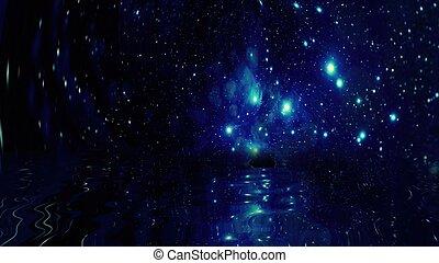 acqua, riflettere, cielo, stelle