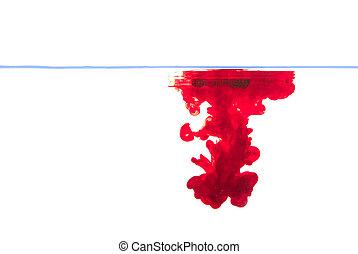 acqua, rosso, inchiostro