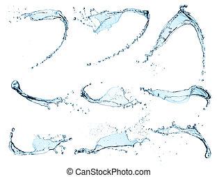acqua, schizzi, fondo, isolato, alto, risoluzione, collezione, bianco