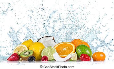 acqua, schizzo, frutta