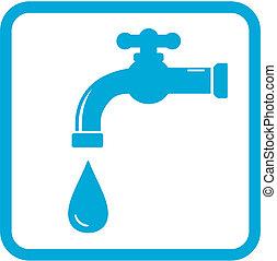 acqua, simbolo, icona, tap.