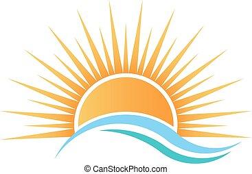 acqua, sopra, sole, waves.