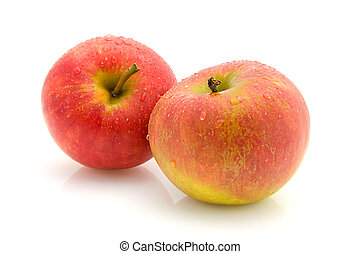 acqua, succoso, due, mele, gocce