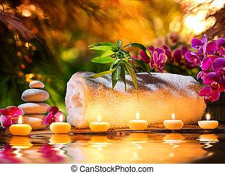 acqua, -, terme, massaggio, giardino