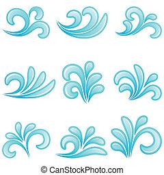 acqua, vettore, illustration., icons.