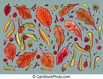acquarello, albero, foglie, autunno, semi, bacche