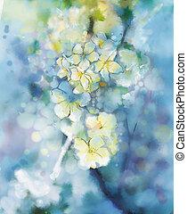 acquarello, albicocca, pittura, astratto, bianco, albero, fiore