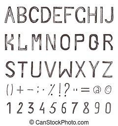 acquarello, alfabeto, mano, simboli, numeri, font., disegnato