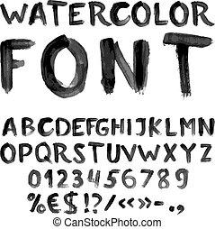 acquarello, alfabeto, nero, scritto mano