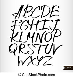 acquarello, alfabeto, scritto mano, nero, calligraphic
