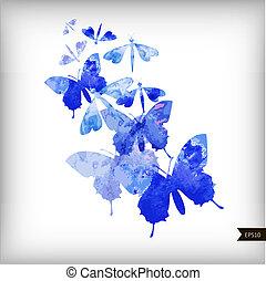 acquarello, astratto, farfalle, fondo