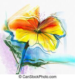 acquarello, astratto, fiore, pittura
