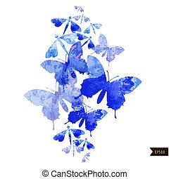 acquarello, astratto, fondo, farfalle, colorito