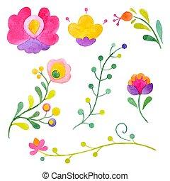 acquarello, astratto, vettore, fiori