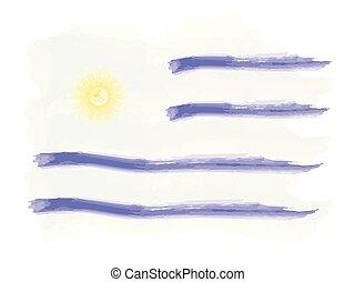 acquarello, bandiera, uruguay