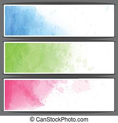 acquarello, banners., astratto, colorito