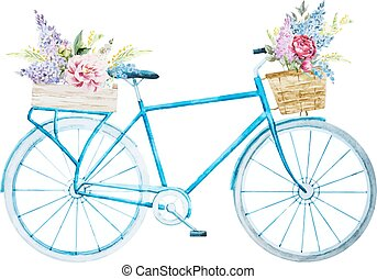 acquarello, bicicletta, bicicletta
