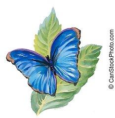 acquarello, blu, farfalla, leaves.