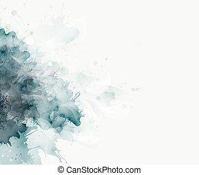 acquarello, blue-gray, macchia
