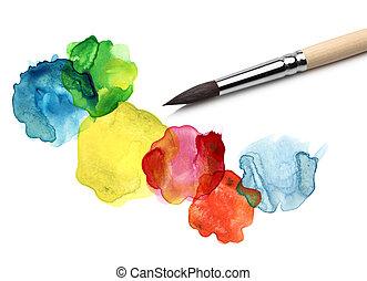acquarello, bstract, cerchio, pittura, spazzola