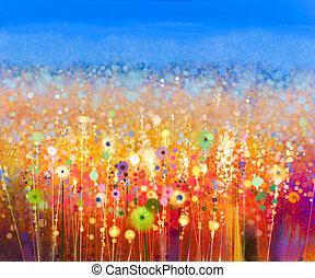 acquarello, campo, astratto, fiore, painting.