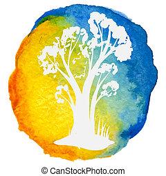 acquarello, cerchio, albero