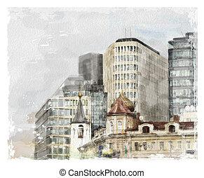acquarello, città, illustrazione, scape