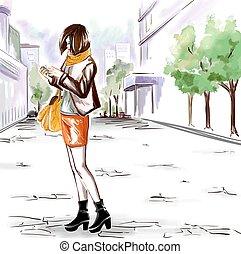 acquarello, città, ragazza, strada