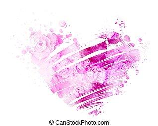 acquarello, cuore, grunge, rose