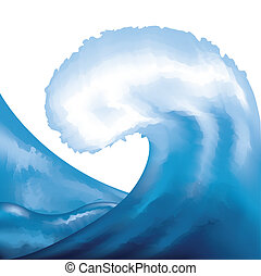 acquarello, dipinto, onda