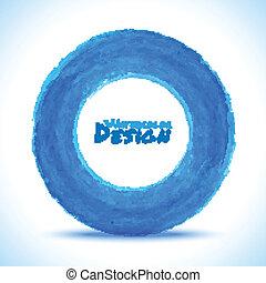 acquarello, disegnato, cerchio, blu, mano