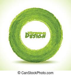 acquarello, disegnato, cerchio, verde, mano