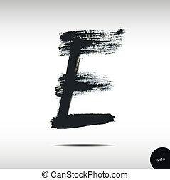acquarello, e, lettera, calligraphic