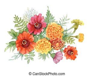 acquarello, estate, fiori, illustration., azzurramento