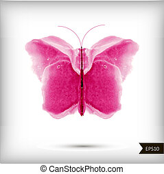 acquarello, farfalla, astratto