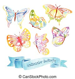 acquarello, farfalla