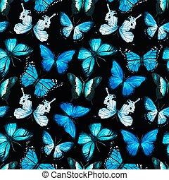 acquarello, farfalla, vettore, modello