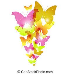 acquarello, farfalle, disegno