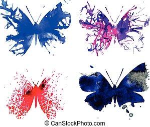 acquarello, farfalle