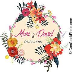 acquarello, fiori, cartolina auguri