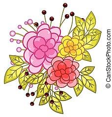 acquarello, fiori, disegno, vettore