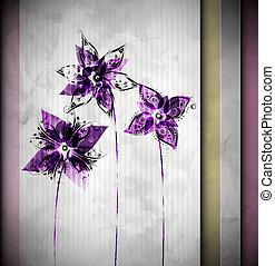 acquarello, fiori, fondo