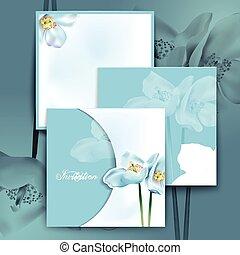 acquarello, fiori, romantico, invito