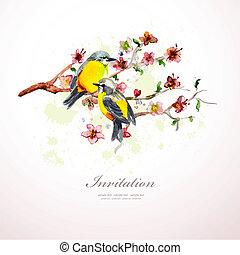 acquarello, fiori, tuo, design.