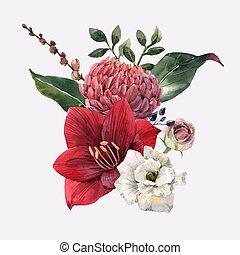 acquarello, fiori, vettore, illustrazione