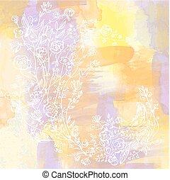 acquarello, floreale, astratto, scheda, fondo