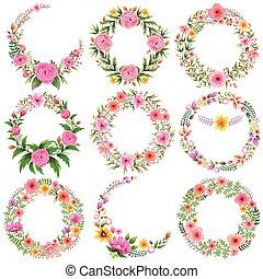 acquarello, floreale, cornice, vendemmia