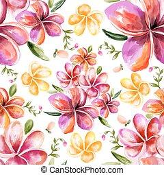 acquarello, floreale, seamless, modello