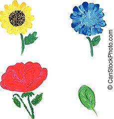 acquarello, flowers., vettore